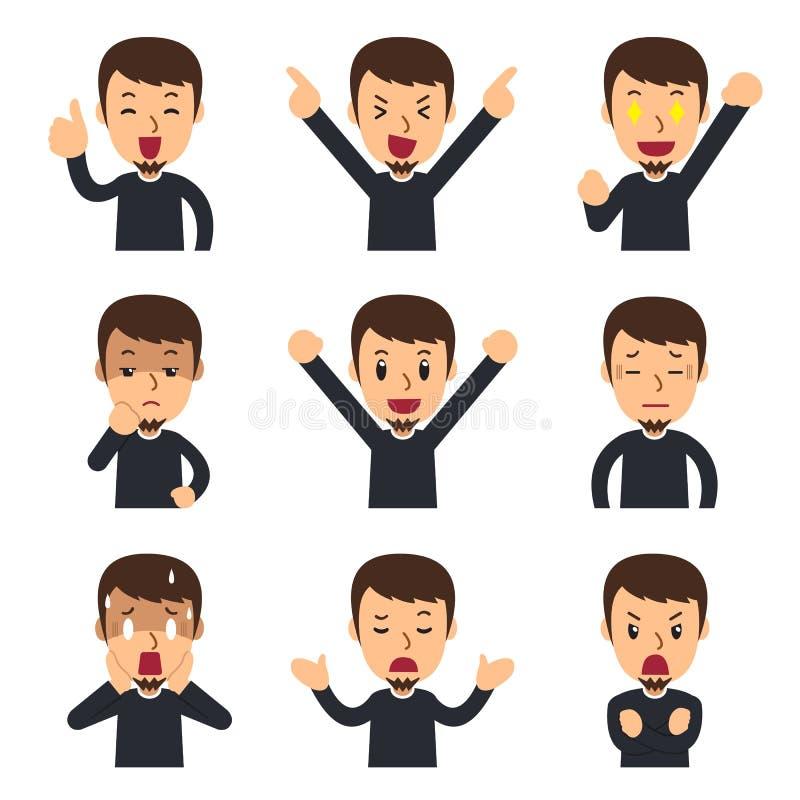 Sistema de la historieta del vector de caras del hombre que muestran diversas emociones stock de ilustración