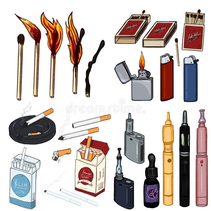 Sistema de la historieta del vector de artículos el fumar y de Vaping stock de ilustración