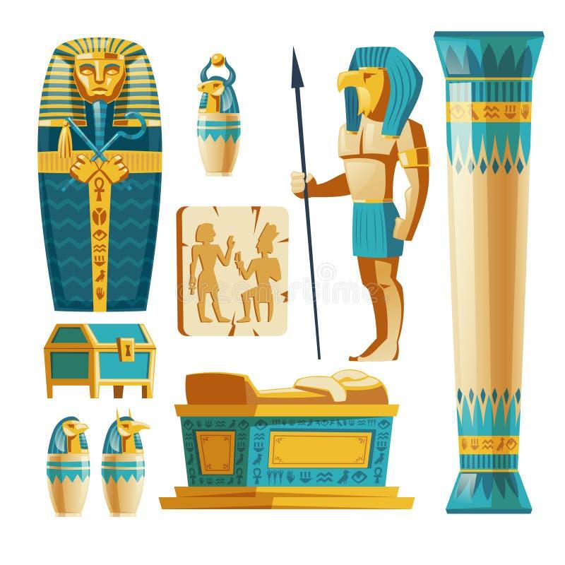 Sistema de la historieta del vector de los objetos de Egipto antiguo libre illustration