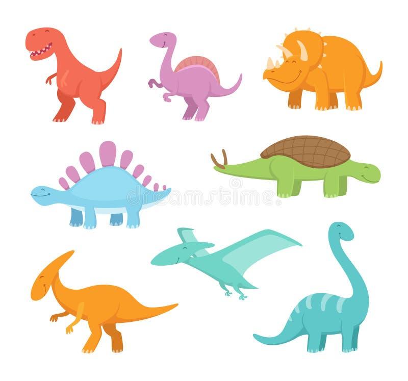 Sistema de la historieta de dinosaurios divertidos Imágenes del vector del período prehistórico ilustración del vector