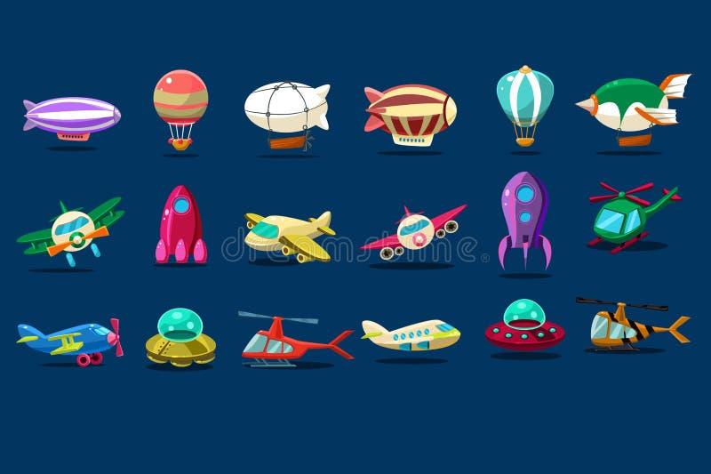 Sistema de la historieta de diversos tipos de aviones Platillos, aeroplanos, nave espacial, globos, helicópteros y zepelines extr stock de ilustración