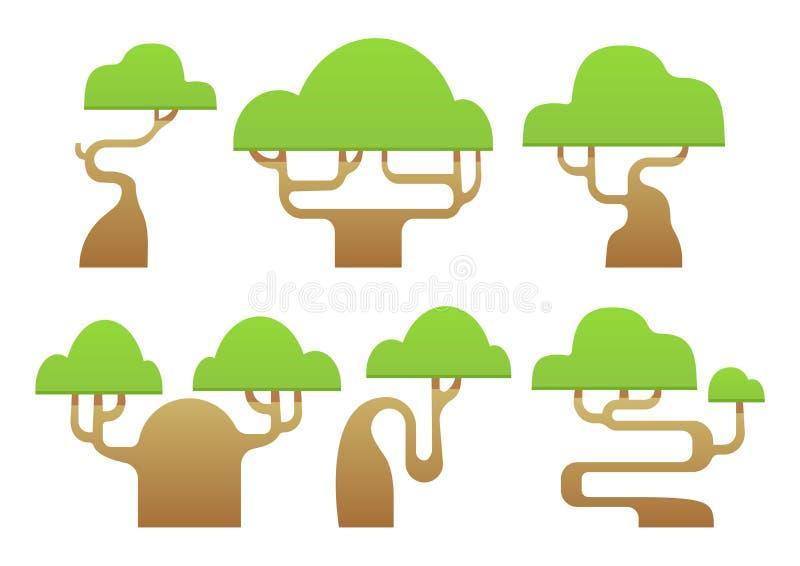 Sistema de la historieta estilizada abstracta de los árboles stock de ilustración
