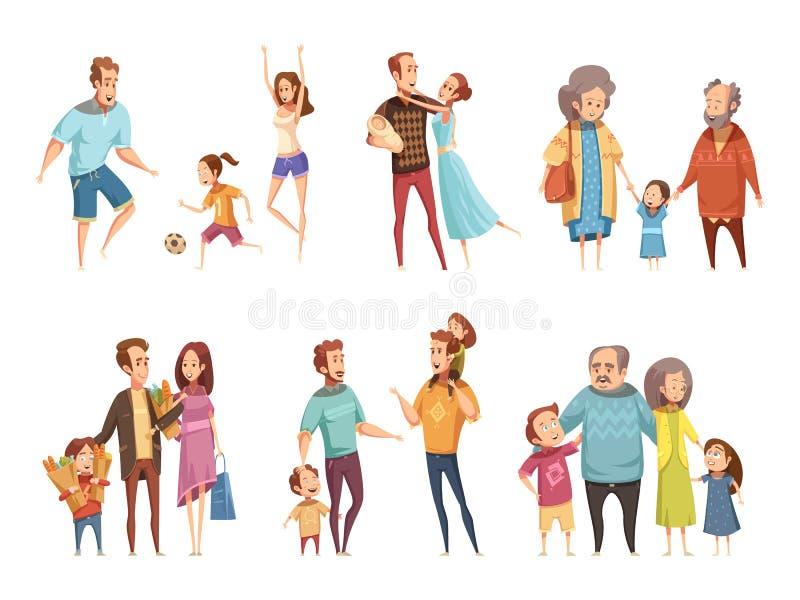 Sistema de la historieta de la familia stock de ilustración