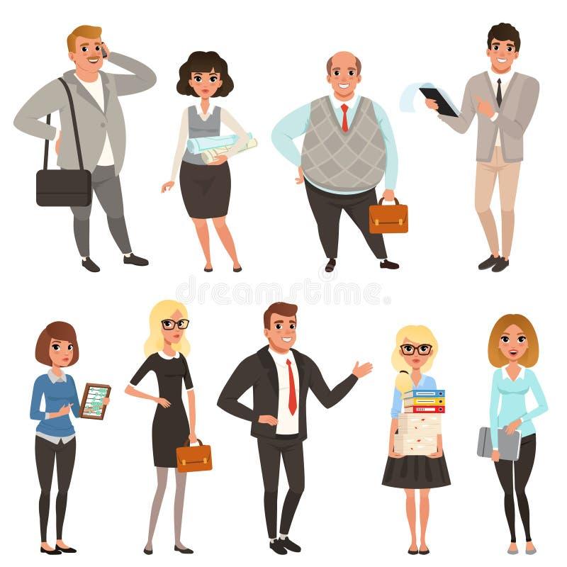 Sistema de la historieta de los administradores de oficinas y de los trabajadores en diversas situaciones Hombres de negocios Car ilustración del vector