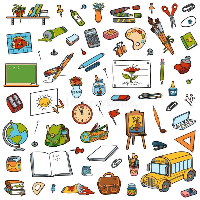 Sistema de la historieta de objetos de la escuela Colección de efectos de escritorio stock de ilustración