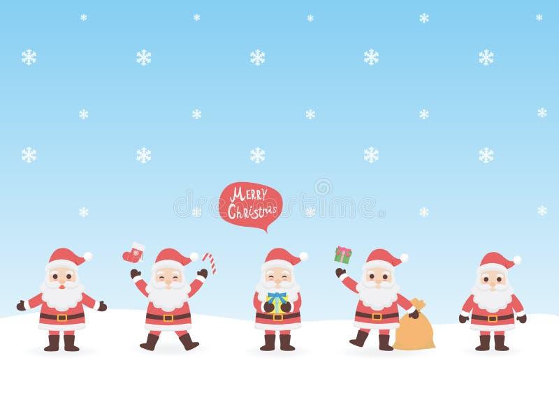 Sistema de la historieta Papá Noel lindo del carácter stock de ilustración