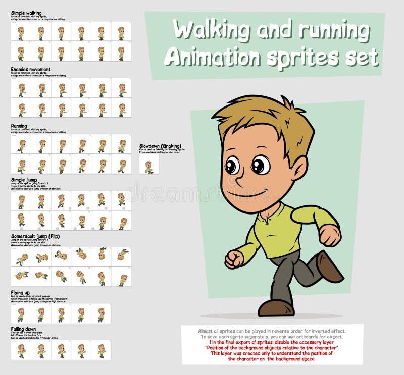 Sistema de la hoja de los sprites de la animación del carácter del muchacho de la historieta libre illustration