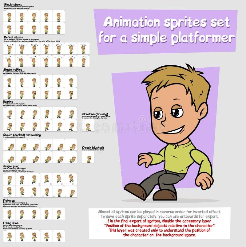 Sistema de la hoja de los sprites de la animación del platformer del muchacho de la historieta libre illustration