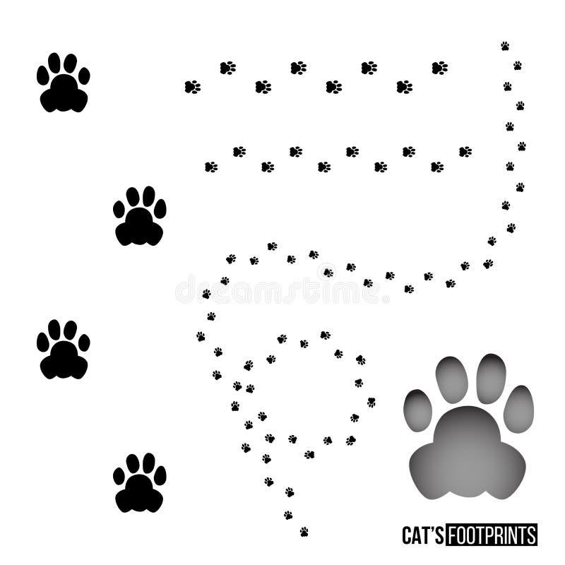 Sistema de la huella del gato aislado en el fondo blanco Elemento del diseño del vector stock de ilustración