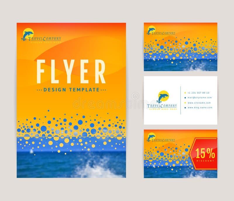 Sistema de la identidad corporativa para la compañía del viaje ilustración del vector