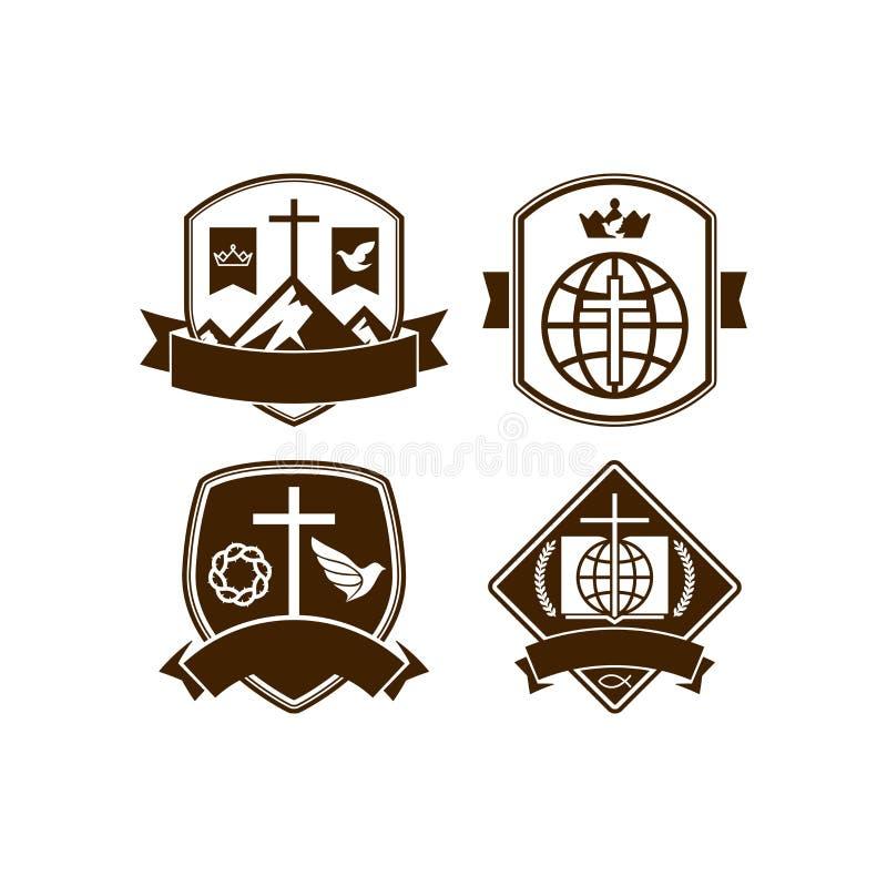 Sistema de la iglesia cristiana de los logotipos del vintage stock de ilustración