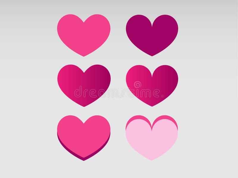 Sistema de la imagen del vector de los corazones imagen de archivo libre de regalías