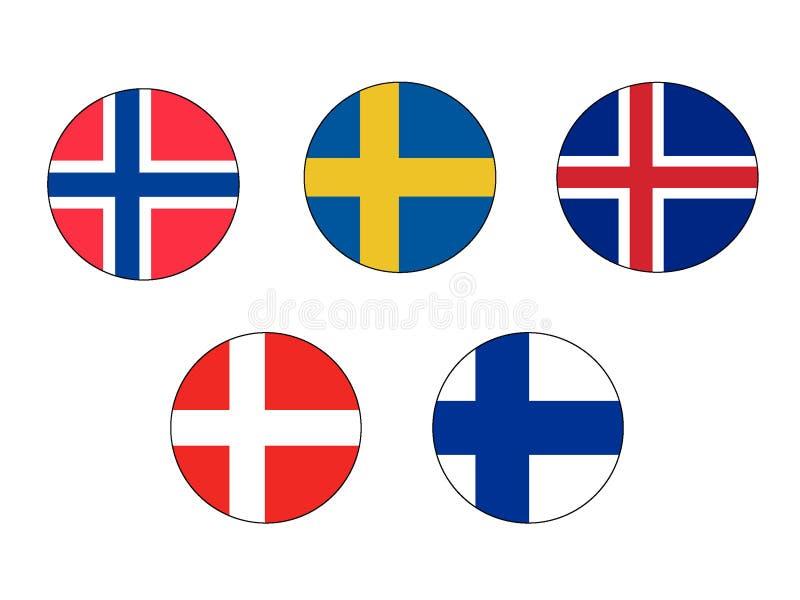 Sistema de la imagen de las banderas de los países nórdicos stock de ilustración