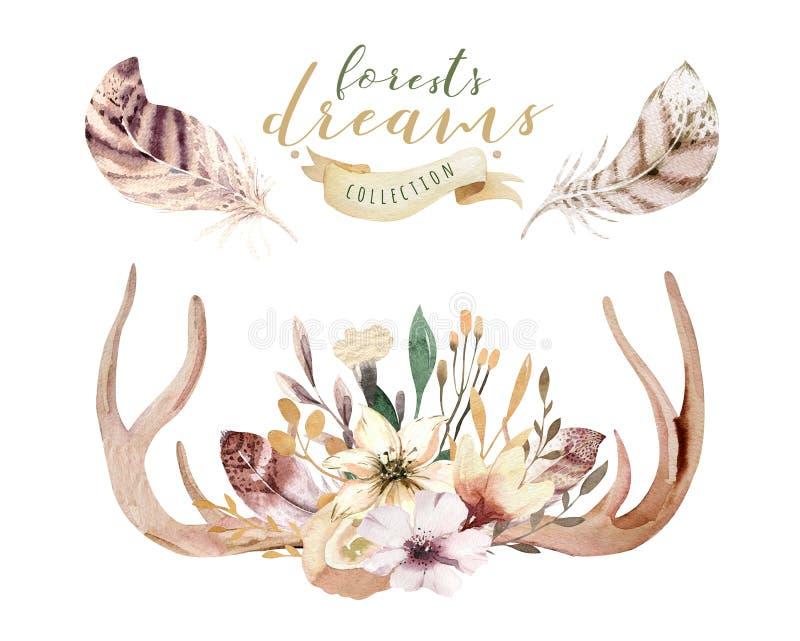 Sistema de la impresión floral de la asta del boho de la acuarela decoración bohemia occidental Cuernos dibujados mano de los cie ilustración del vector