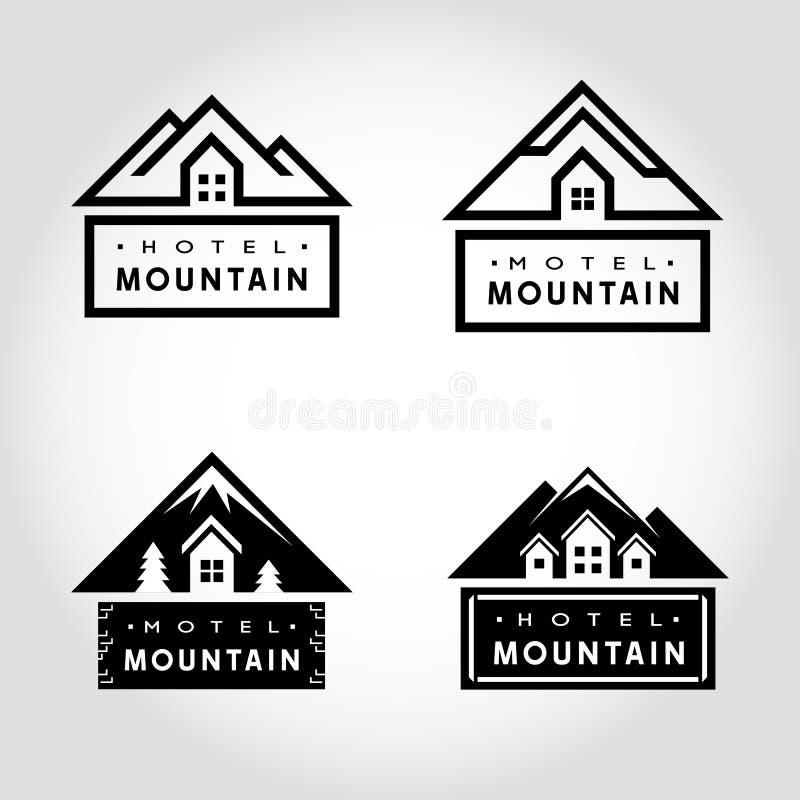 Sistema de la insignia de la montaña del hotel libre illustration