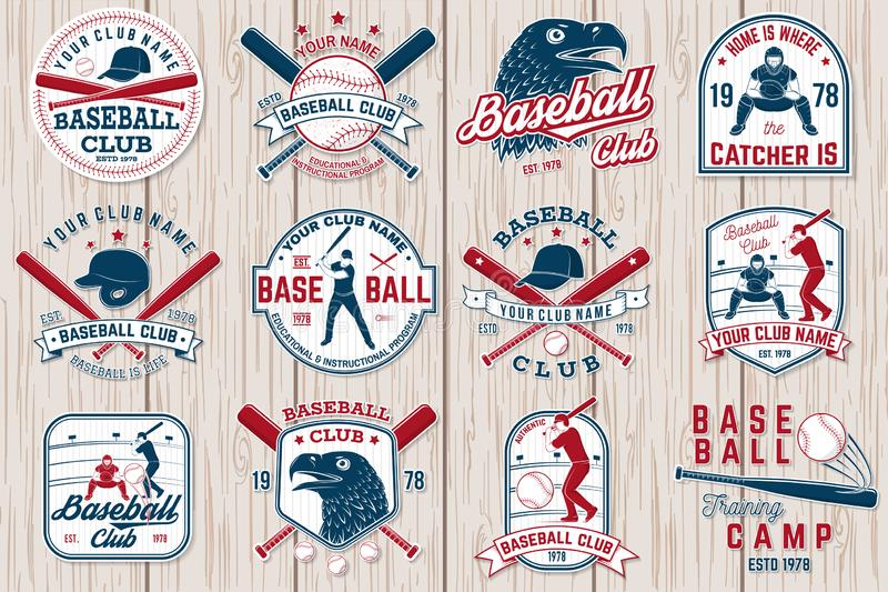 Sistema de la insignia del club del béisbol o del softball Ilustración del vector Concepto para la camisa o el logotipo, stock de ilustración