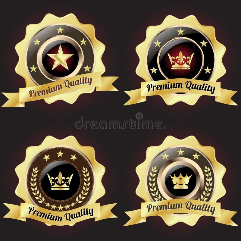 Sistema de la insignia superior de oro de la calidad stock de ilustración