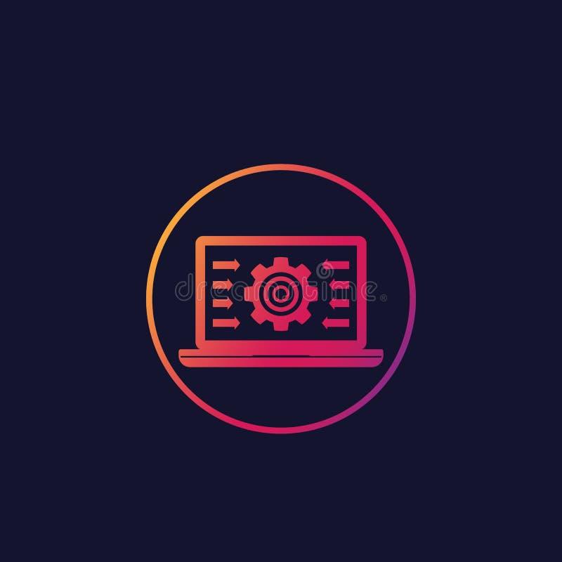 Sistema de la integración, icono de la informática ilustración del vector