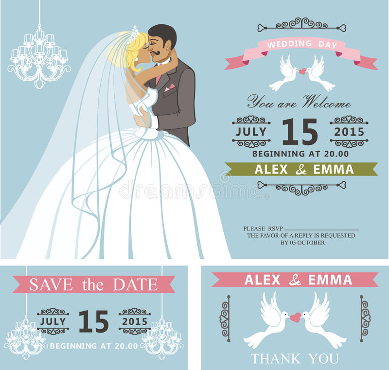 Sistema de la invitación de la boda Besar la novia y al novio de la historieta retro fotos de archivo