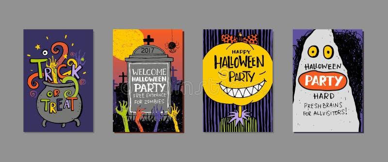 Sistema de la invitación dibujada mano de Halloween, tarjeta ilustración del vector