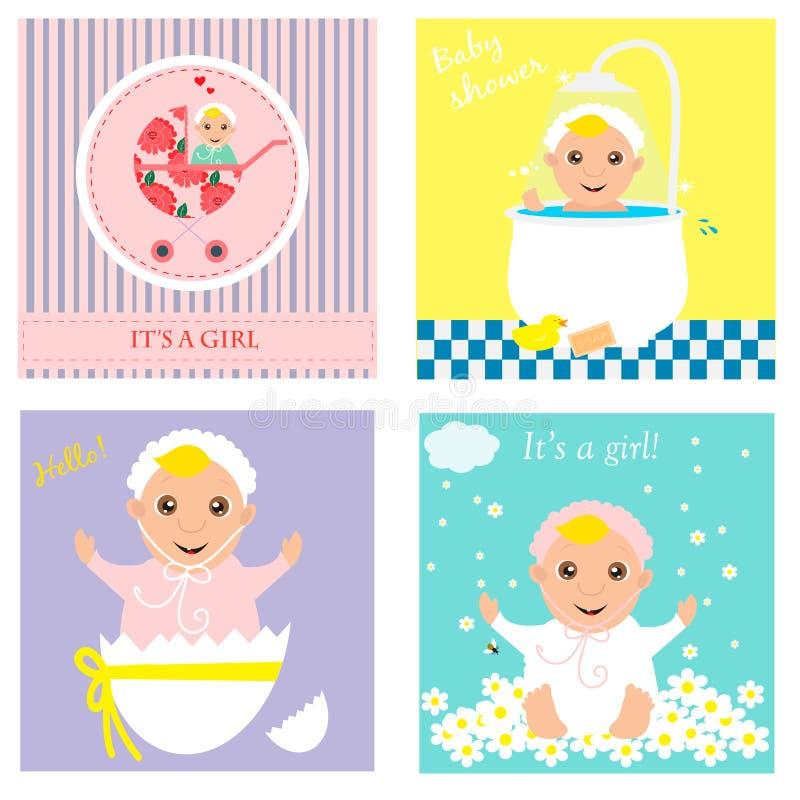 Sistema de la invitación de la fiesta de bienvenida al bebé, tarjetas de felicitación, cartel Graphhics del vector libre illustration