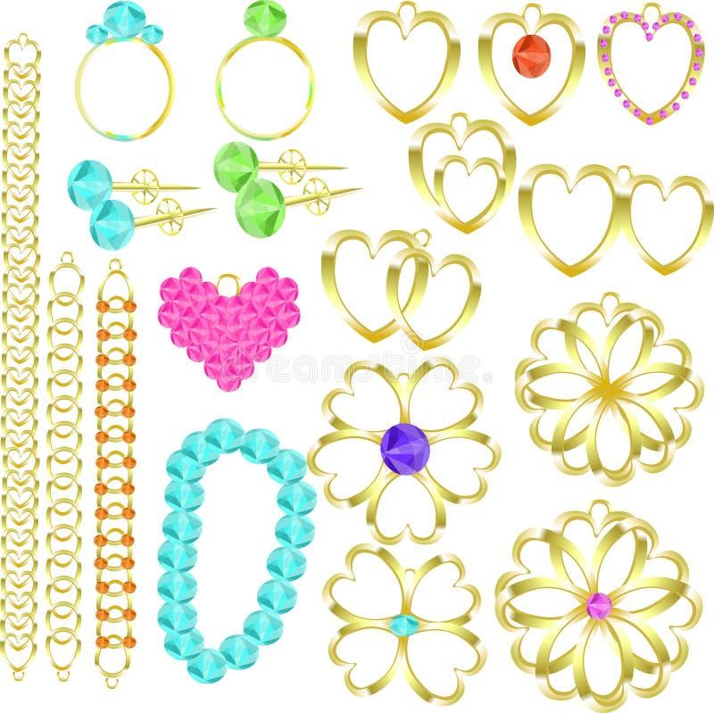 Sistema de la joyería de los anillos de oro, cadenas, pendientes, collares, colgantes ilustración del vector