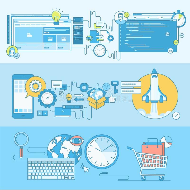 Sistema de la línea banderas del concepto para el web y el desarrollo del app, comercio electrónico ilustración del vector