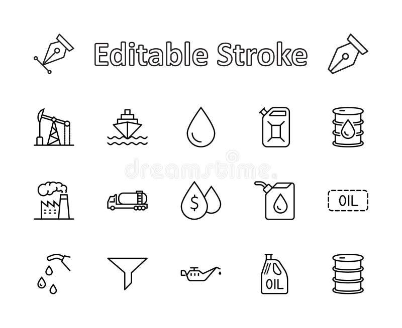 Sistema de la línea del petróleo iconos del vector Contiene los iconos tales como el camión de combustible, gasolinera, fábrica d ilustración del vector