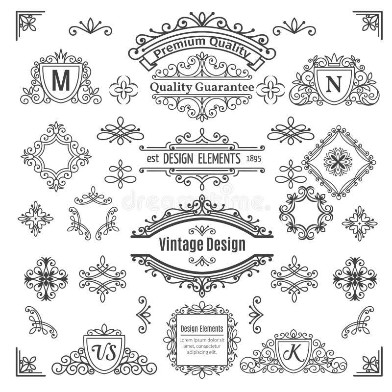 Sistema de la línea elementos del vector del vintage ilustración del vector