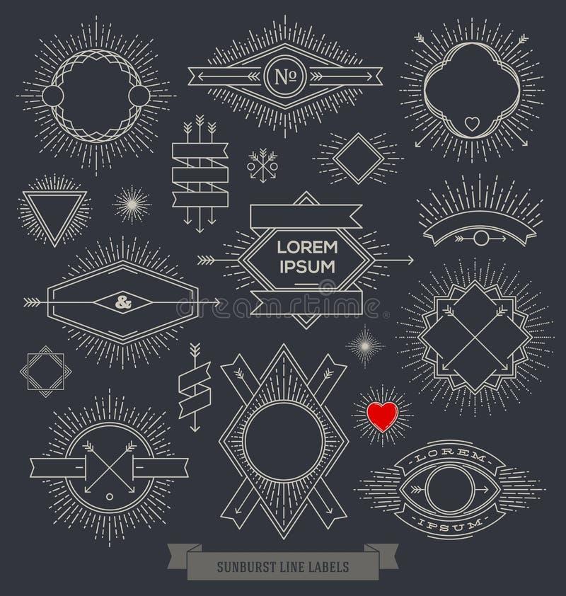 Sistema de la línea emblema del diseño, muestra y etiquetas del inconformista libre illustration