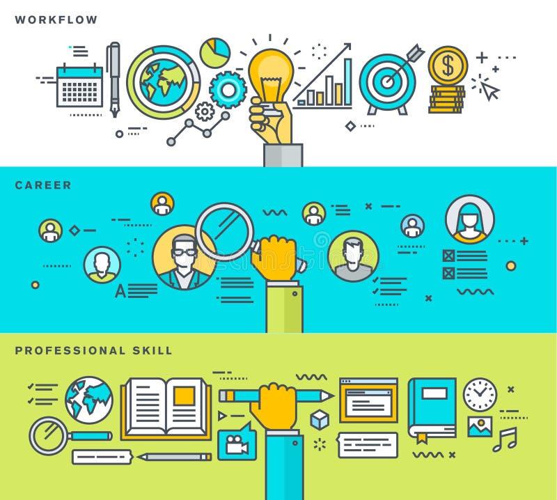 Sistema de la línea fina banderas planas del diseño para el flujo de trabajo, carrera, cualificación profesional, proceso de nego ilustración del vector