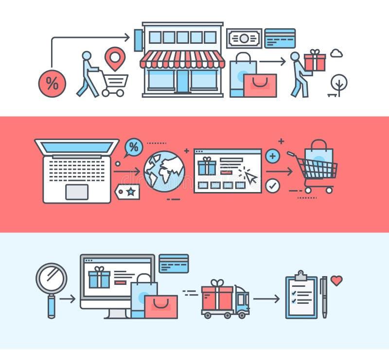 Sistema de la línea fina banderas planas del diseño para hacer compras, comercio electrónico, compras en línea stock de ilustración