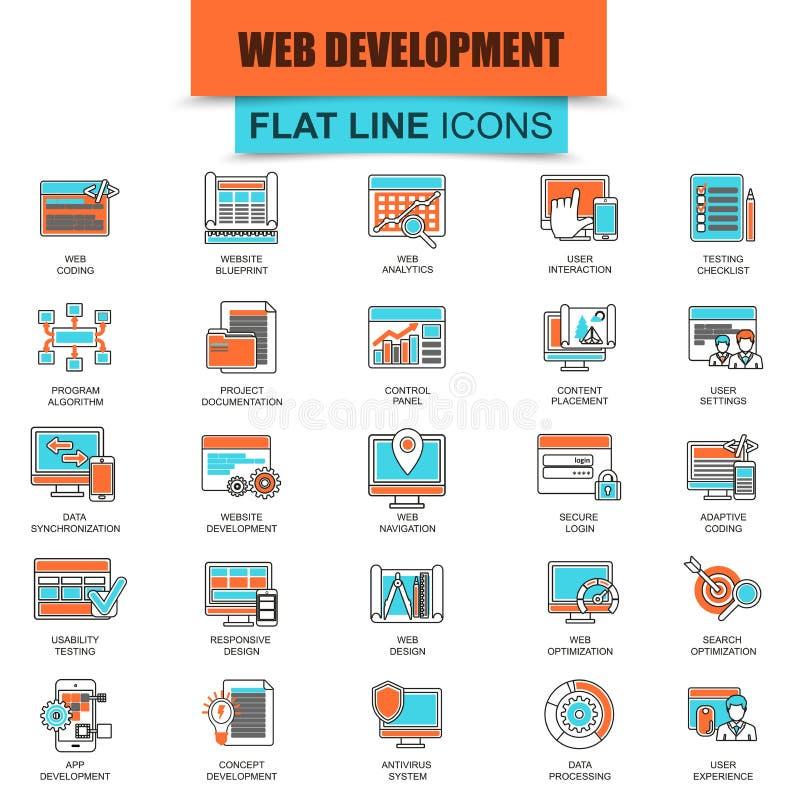 Sistema de la línea fina diseño web y desarrollo de los iconos stock de ilustración