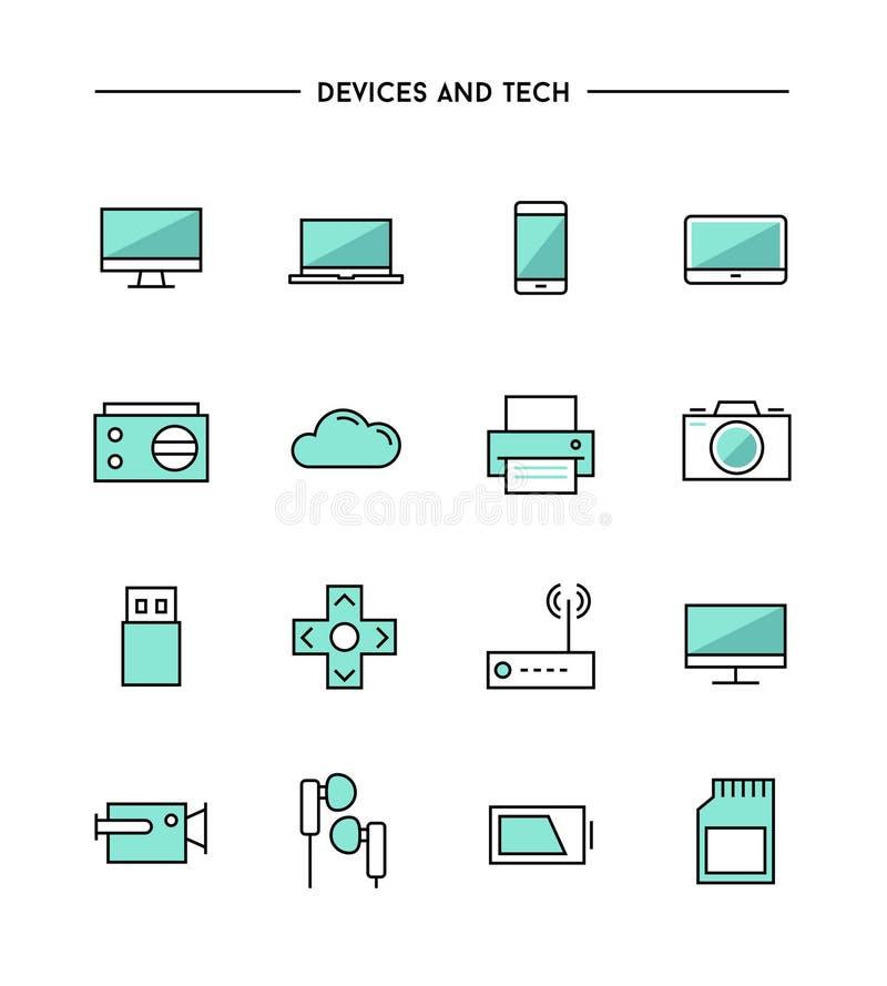 Sistema de la línea fina dispositivos e iconos planos de la tecnología ilustración del vector
