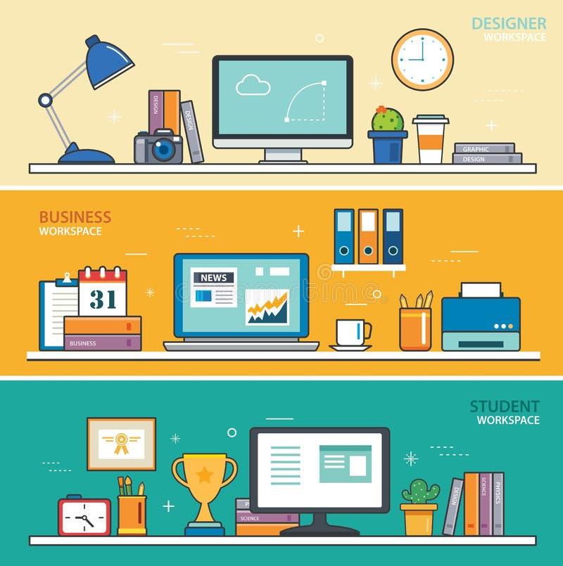 Sistema de la línea fina espacio de trabajo plano del diseño diseñador, negocio libre illustration