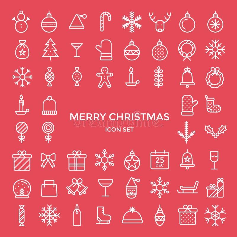 Sistema de la línea fina iconos del esquema del día de fiesta de la Navidad fijados libre illustration
