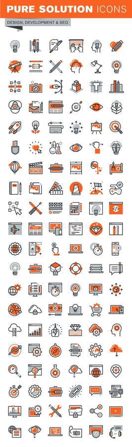 Sistema de la línea fina iconos del web del desarrollo del app stock de ilustración