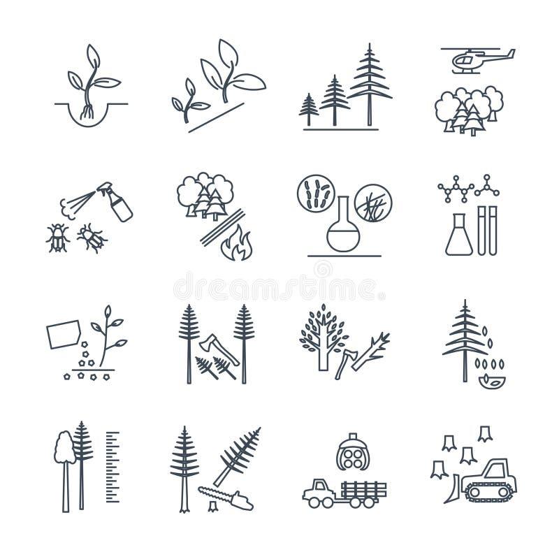 Sistema de la línea fina iconos silvicultura y silviculture stock de ilustración