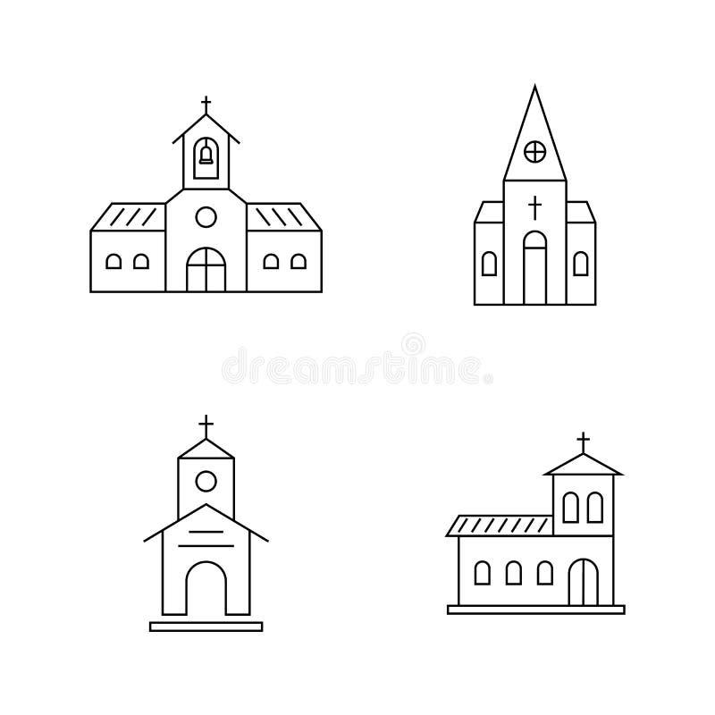 Sistema de la línea fina iglesia negra libre illustration