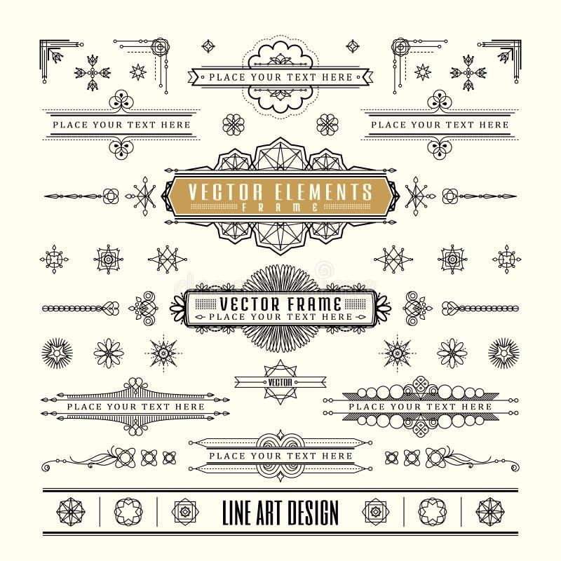 Sistema de la línea fina linear marco retro del diseño del vintage del art déco stock de ilustración