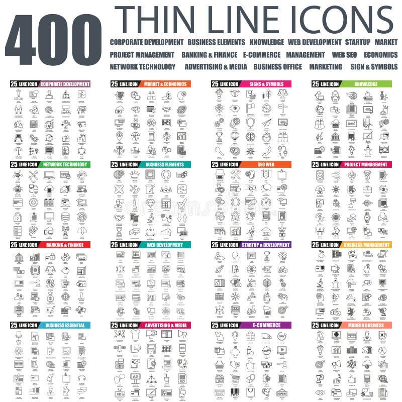 Sistema de la línea fina plana iconos del web del negocio ilustración del vector