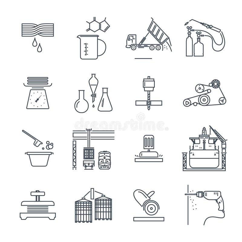 Sistema de la línea fina producción industrial de los iconos, proceso de fabricación libre illustration