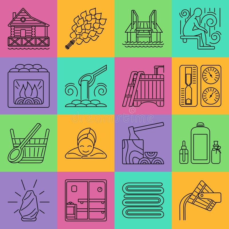 Sistema de la línea icono de la sauna libre illustration