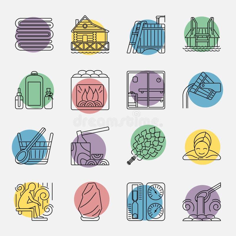 Sistema de la línea icono de la sauna stock de ilustración