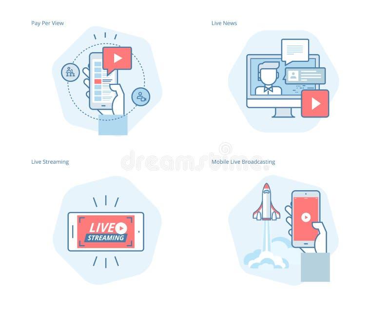 Sistema de la línea iconos del concepto para fluir vivo, difusión móvil, pago por visión, vídeo en línea, noticias stock de ilustración