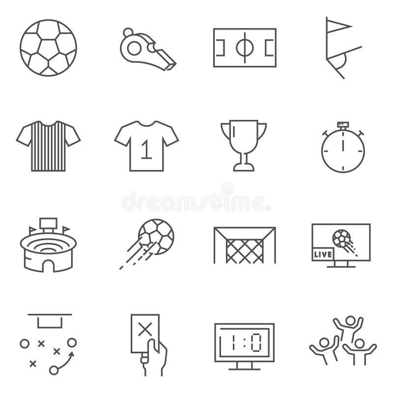 Sistema de la línea iconos del fútbol del vector ilustración del vector