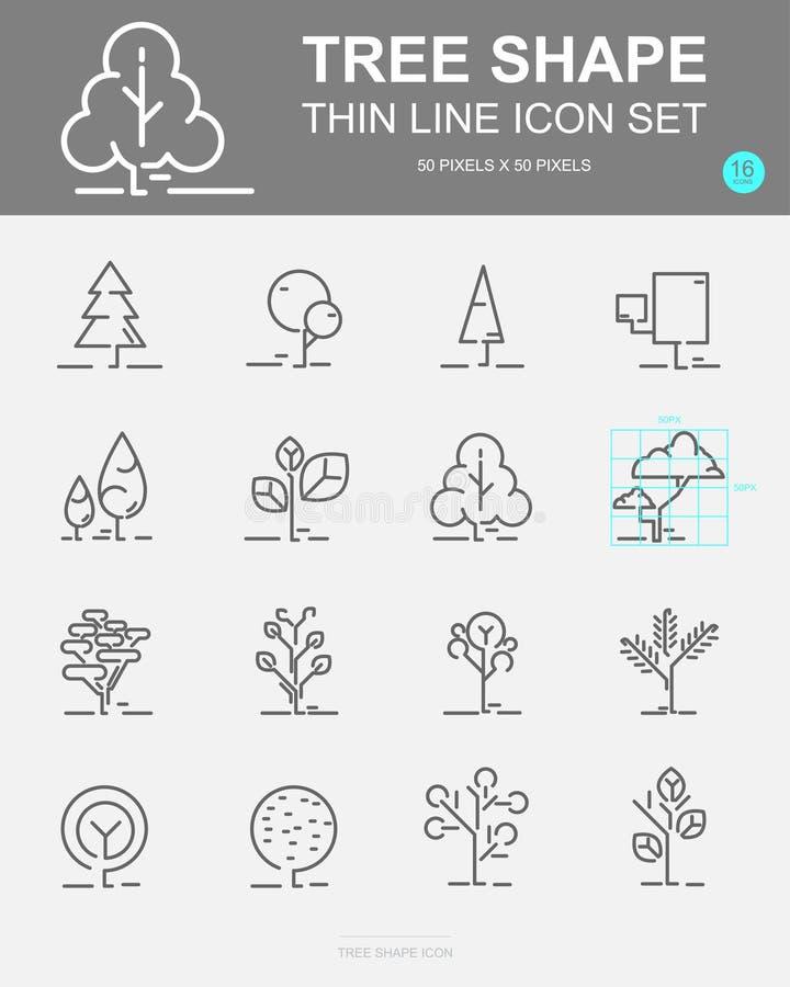 Sistema de la línea iconos del vector de la forma del árbol Incluye la hoja, bosque, árboles, botánica y más libre illustration