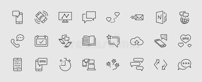 Sistema de la línea iconos del vector del mensaje Contiene los iconos tales como la conversación, SMS, corazón, charlas del amor, ilustración del vector