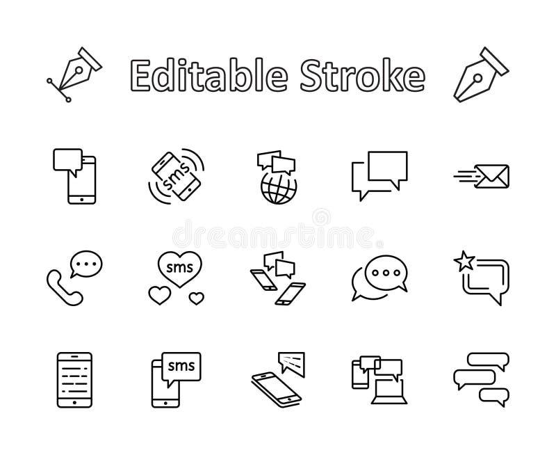 Sistema de la línea iconos del vector del mensaje Contiene los iconos tales como la conversación, SMS, corazón, charlas del amor, libre illustration