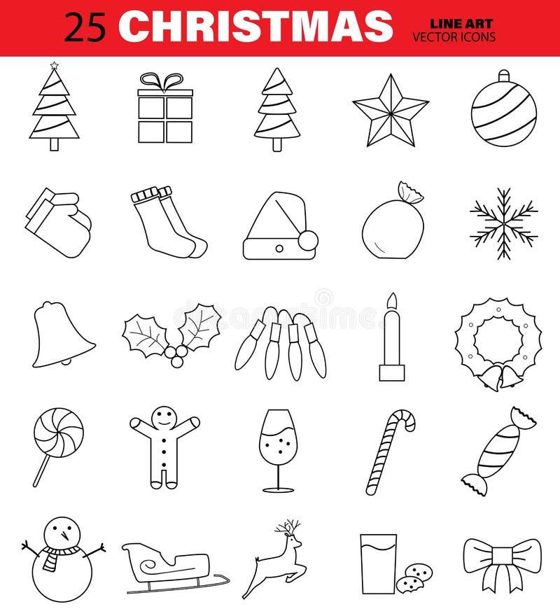 Sistema de la línea iconos del vector de la Navidad Árbol, Bell, bola, copo de nieve, caramelo, vela y más Movimiento Editable stock de ilustración